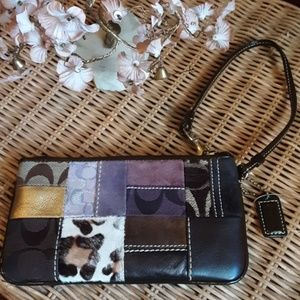EUC Authentic Coach Patchwork wristlet